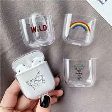 LAUGH LIFE Soft Earphone Case For Apple Airpods Cover Cute Map Trip Transparent Clear Luxury
