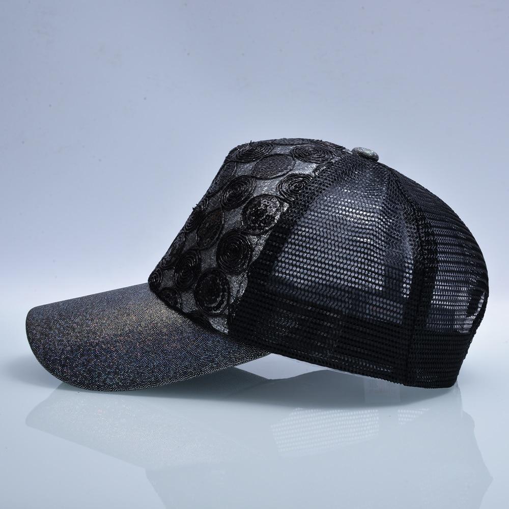 Qızın Günəş Qapağı Snapback Parıldayan Hip Hop Trucker Şapka - Geyim aksesuarları - Fotoqrafiya 2