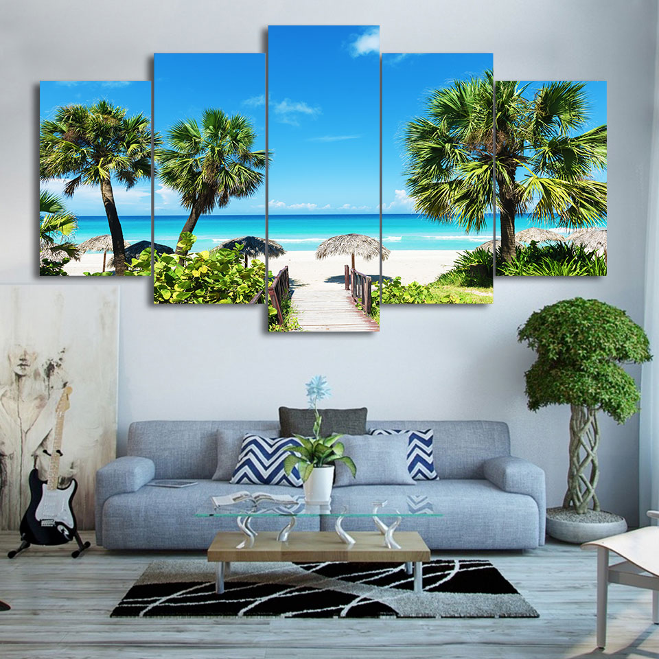 Modular-Canvas-HD-Printed-Poster-Home-Decor-Framed-5-Pieces-Beach-Seascape-Painting-Coconut-Grove-Pictures