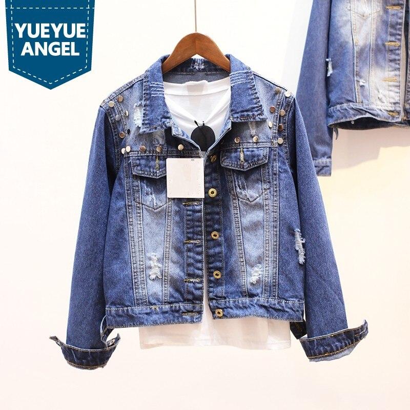 6e3cabd440d4 Chaquetas Femmes Conception Mode Streetwear Casual Preppy De Style Manches  Lâche Déchiré Jeans Femelle Rivet Longues Blue Veste Manteaux Fit xTftq0Hw