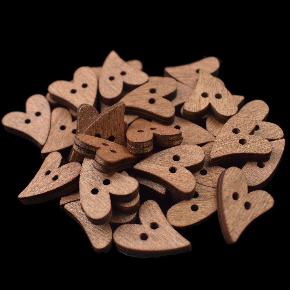 100 шт 20 мм деревянные пуговицы в форме сердца для шитья скрапбукинга DIY коричневая деревянная кнопка с 2 отверстиями для рукоделия аксессуары для скрапбукинга