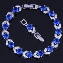 Fetching Round Blue Cubic Zirconia White CZ 925 Sterling Silver Link Chain Bracelet 18cm 20cm For Women V0046 real 925 sterling silver 6mm cubic zirconium round cz tennis bracelet bsqd3055