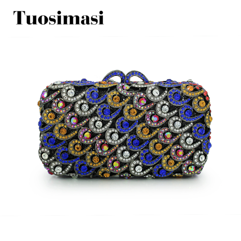 Popular luxury evening bags Sparkly Crystal women Clutch bags Colorful Ladies dinner bags Clutches purse(88161A-BG) winmax popular luxury evening bag sparkly crystal women party bag colorful butterfly pattern ladies dinner bag prom clutch purse