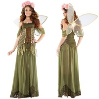 2017 New Angel Flower Fairy Dress Most Popular Classic Halloween Cosplay Costume Women Green Flower Fairy