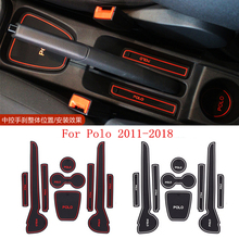 9pcs Car styling Silica gel Gate slot pad Interior Car cup mat stickers For VW Volkswagen Polo Accessories 2011-2018