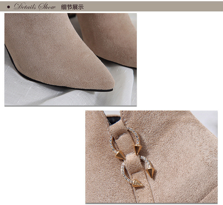 2019 Spring Autumn Women Boots New Fashion Casual Ladies Flock Short Boots Female Middle Heeled Boots M8D261 (4)