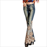 2018 Spring Luxury Embroidered Flares Mid Waist Big Flared Jeans Female Boot Cut Fine Beading Bell Bottom Jeans Denim Trousers