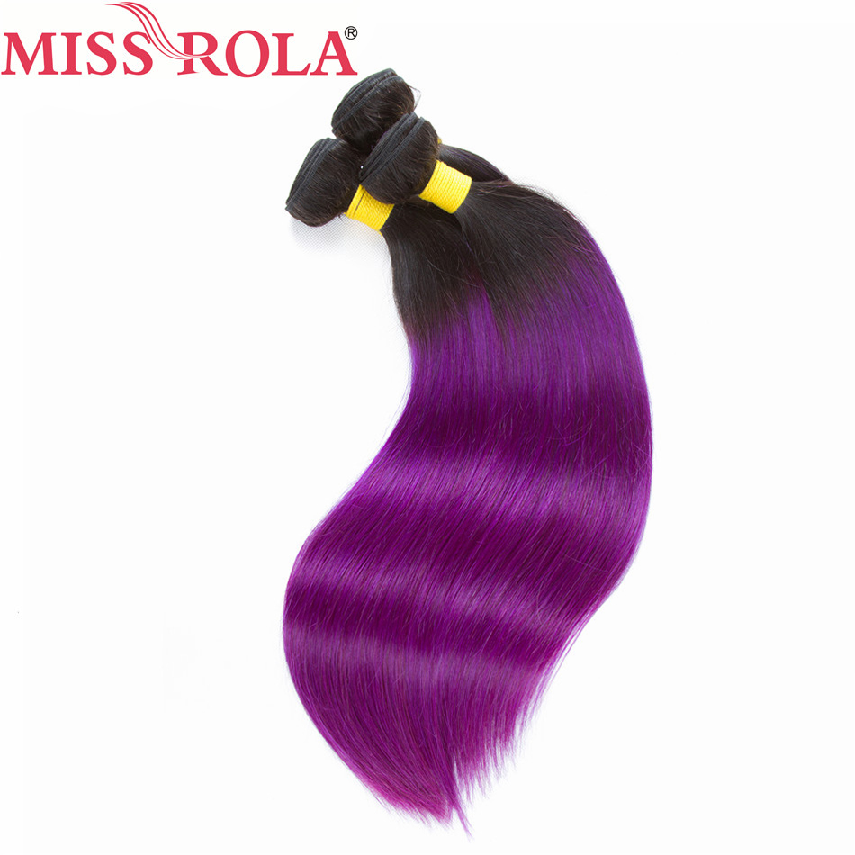 Miss Rola Hair Pre-colored Ombre 3 Bundles Straight T1B/PURPLE Color 100% Human Malaysian Hair Weaving Non-remy Hair Extension