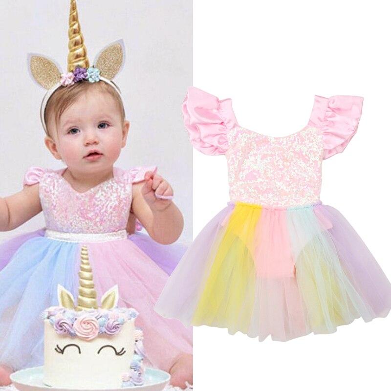 Vestido para meninas com unicórnio, vestido cores do arco-íris com unicórnio para festa infantil
