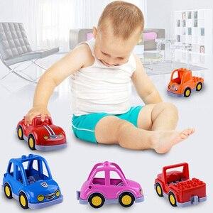 Image 2 - Coche de dibujos animados Compatible con Duploed City, camión agrícola, remolque, avión, modelo de muñeca, bloques de construcción, juguetes educativos para niños, regalos