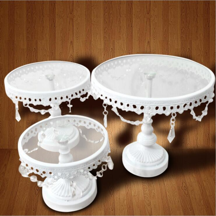wholesale wedding cake stands 3pcs set glass cake stand white iron and glass cake stand 1390