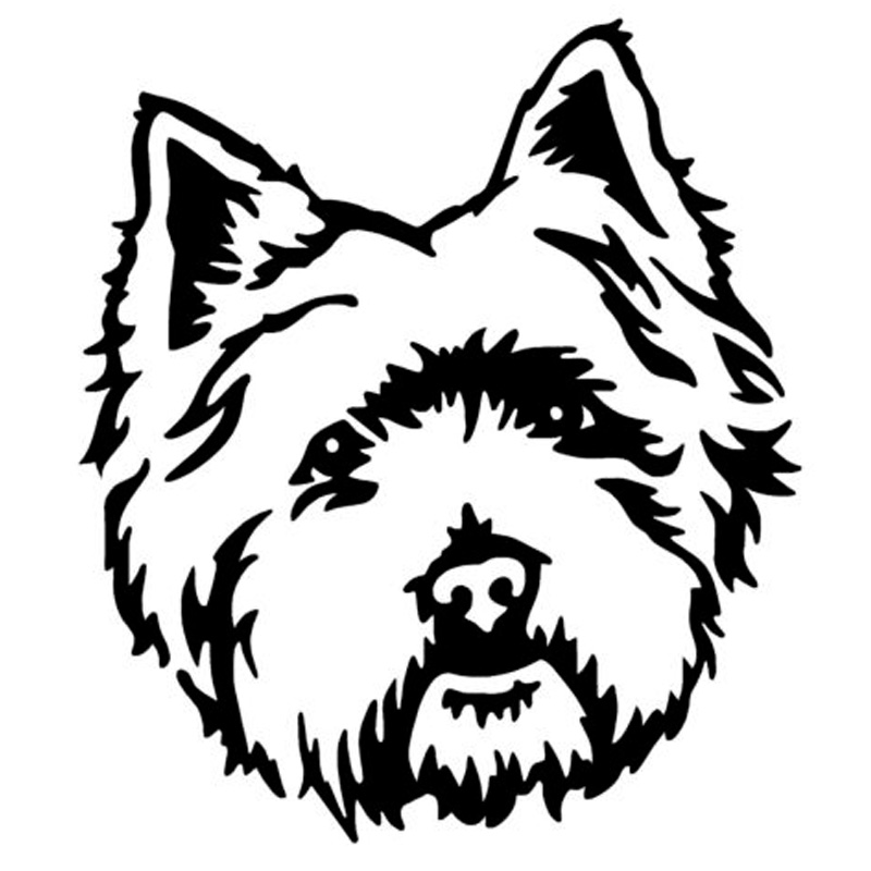 10.1*11.4CM West Highland White Terrier Westie Dog Car Stickers Cute Vinyl Decal Car Styling Decoration Black/Silver S1-1029