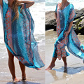 Womens Summer Sexy Boho Geometry Print Chiffon Robe Bathing Suit Casual Loose Beach Dress
