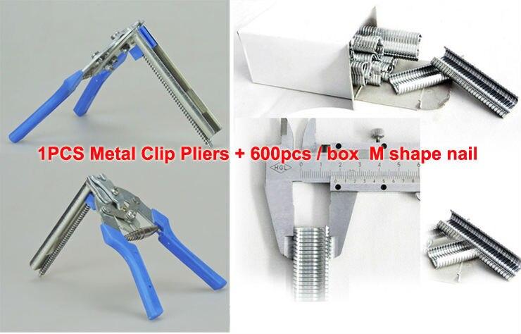 100% New Metal Clip Pliers repairing rabbit chicken duck bird wire Cages farm animals supplier + 600pcs / Box M shape nails duck farm повседневные шорты