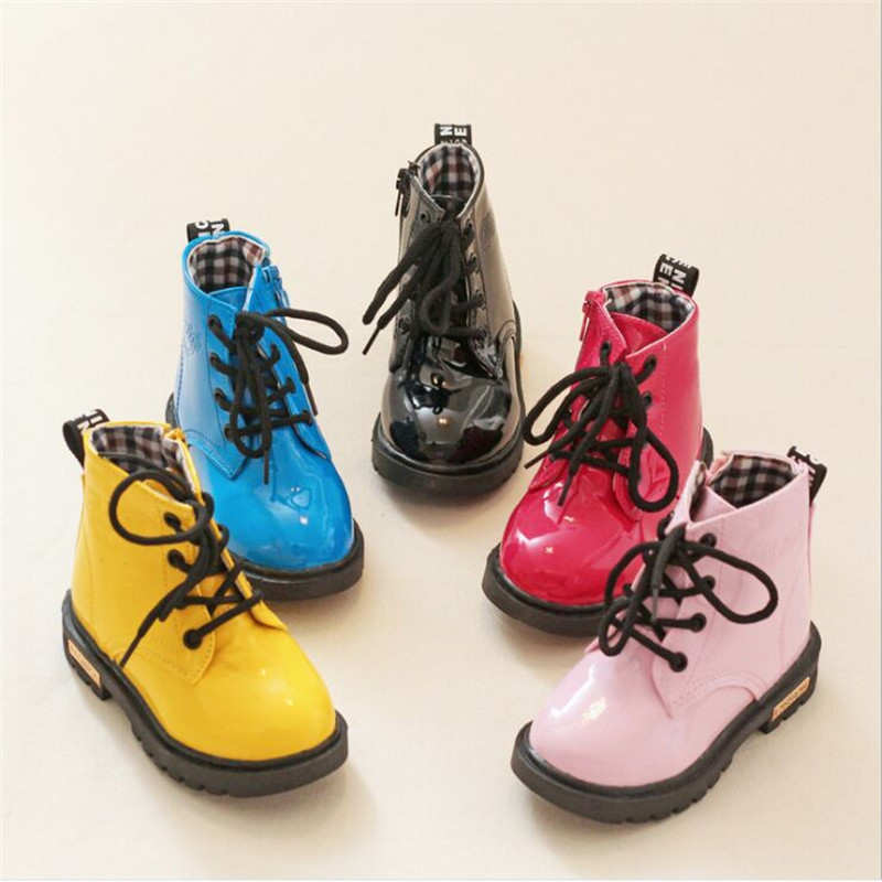 2019 Children Martin Boots PU Leather Waterproof Motorcycle Boots Winter Kids Snow Boots Brand Girls Princess Shoes Rubber Boots