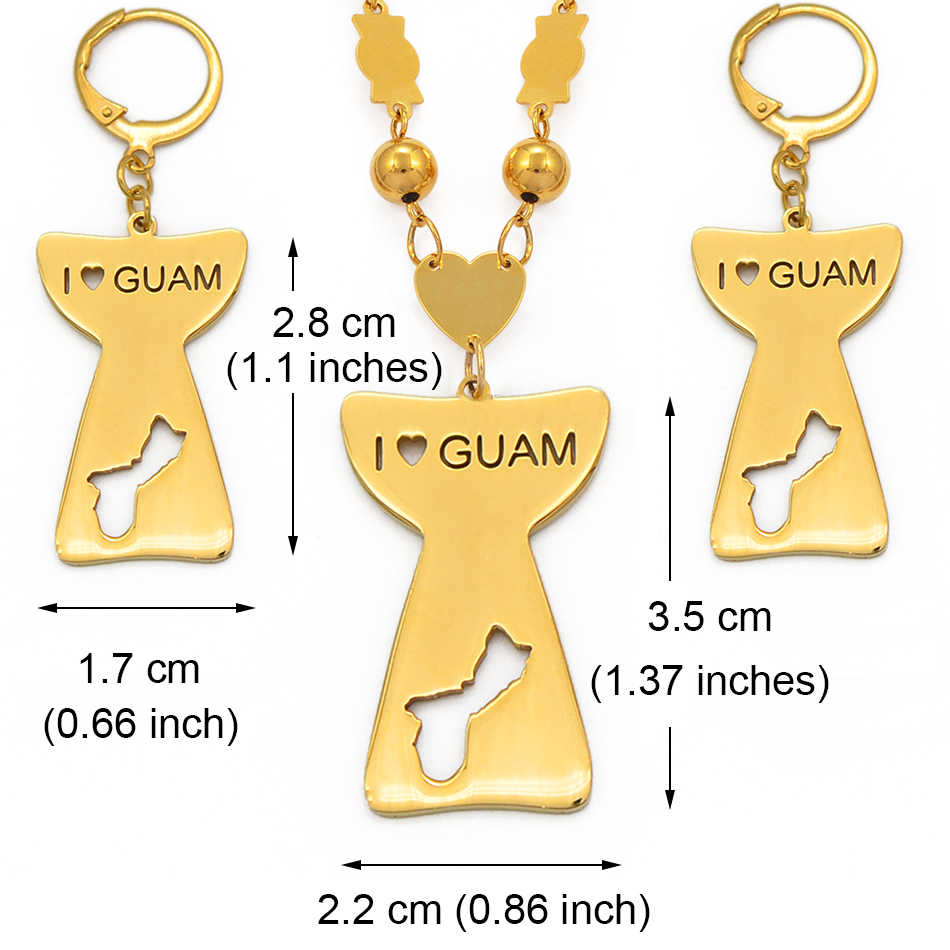 Anniyo I Love Guam & Map Pendant Ball Beads Chain Necklace Earrings for Women Girls Gold Color Guam Jewelry Ethnic Sets #100021