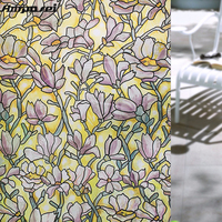 45x200cm Flower Static Cling Window Sticker Stained Glass Window Film Privacy Textured Decorative Stained Glass Frosted Film FF