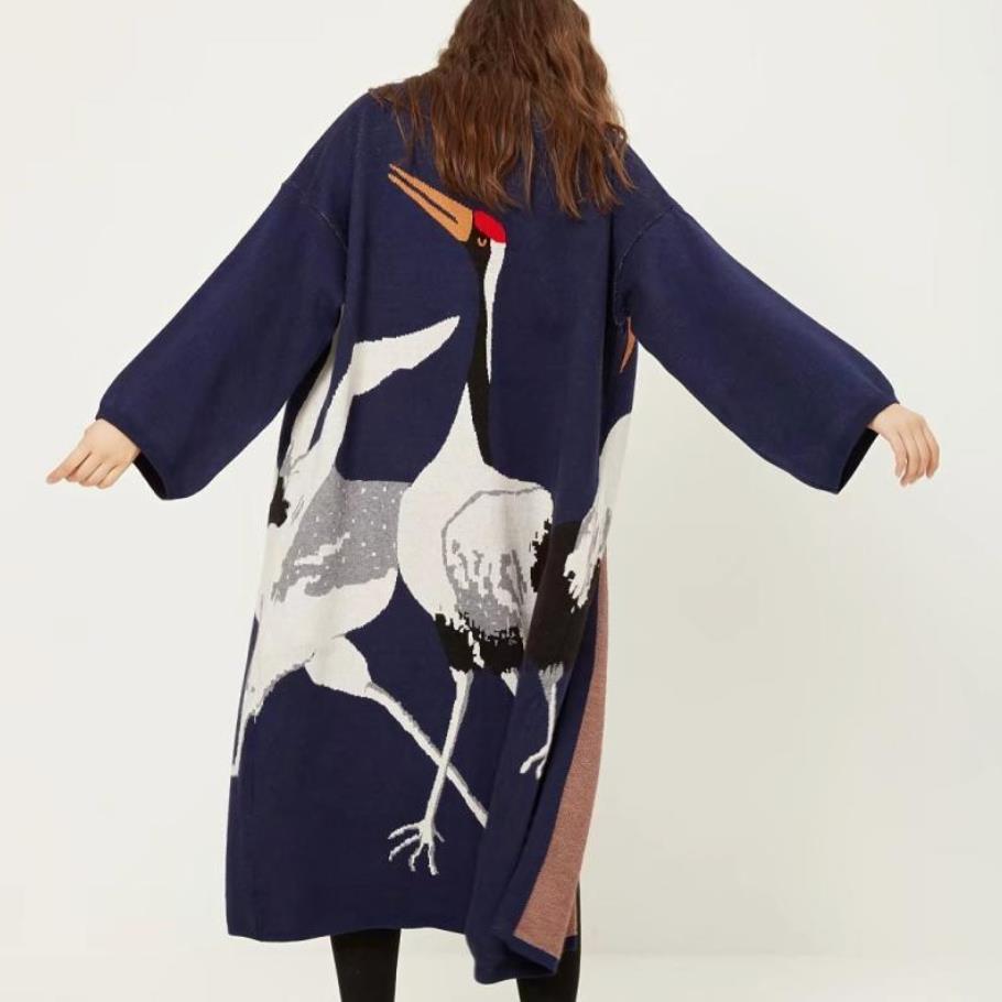 2019 printemps Cardigan pull pour femmes hiver pull manteau femme Kimono Vintage tricoté longue Trench coupe-vent