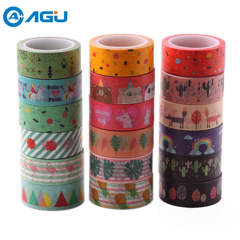 AAGU 1PC Various 15MM*5M Adhesive Pineapple Unicorn Washi Tape Decorative Planner Scrapbooking Paper Tape Masking DIY Paper Tape aagu new arrival 15mm 5m 20pcs lot pineapple flamingo watermelon washi tape adhesive masking tape diy decorative paper tape