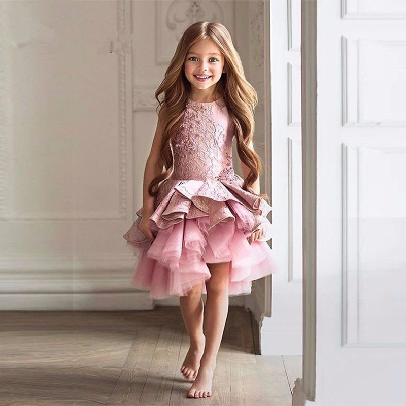 Dark Pink Tulle Cute   Flowers     Girl     Dress   New Satin Lace Tiered Christmas Pageant Evening Prom Gowns