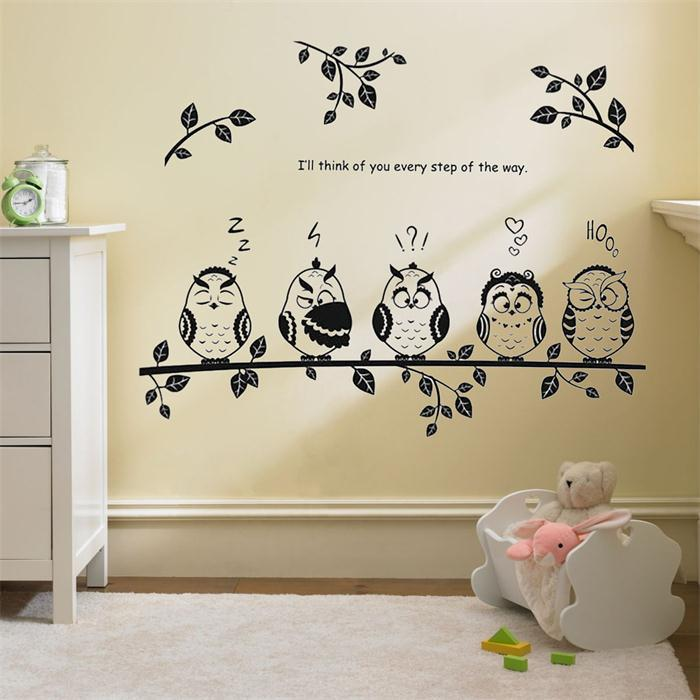 8353 Forest Happy Owl Family Stand On The Branch Pvc Wall Stickers For Kids Room Watch You Quote Wall Stickers Home Decor