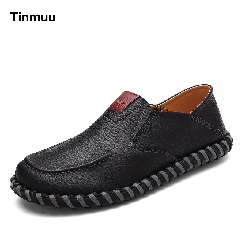 Tinmuu Handmade Men Shoes High Quality Genuine Leather Shoes Slip On Comfort Business Men Casual Loafers Fashion British Shoes dxkzmcm genuine leather men loafers comfortable men casual shoes high quality handmade fashion men shoes