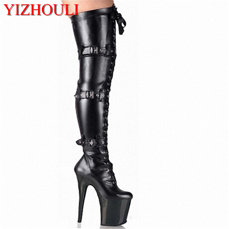 20cm Front Platform High Heeled Shoes Tall Boots Buckle Strap Round Toe Boots Dancer So Sexy