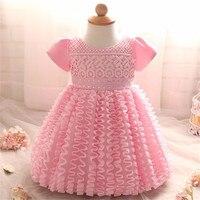 Nieuwe baby baby meisje dress wedding doopjurk doop kleding voor pasgeboren 1 jaar verjaardag bruiloft ruches vestido