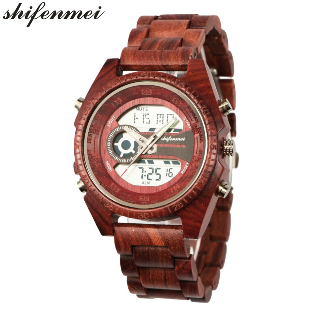 top luxury brand Shifenmei 2139 Antique Mens Zebra and Ebony Wood Watches with Double Display Business Watch in Wooden digital quartz watch drop shipping 2019 (5)