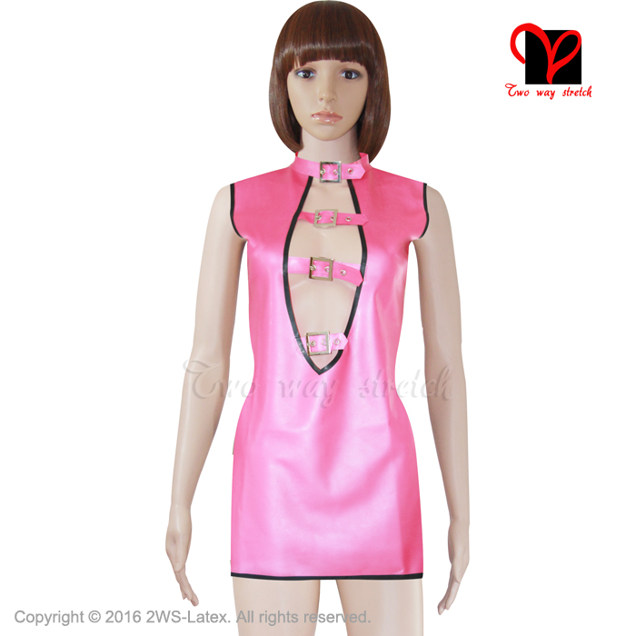 Buy Sexy Pink Latex Dress rubber peep hole plunge top sleeveless collared body suit Gummi gown shirt Strap Keyhole plus size XXXL