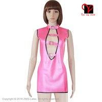 Sexy Różowy Sukienka Lateksowa gumy peep hole plunge top bez rękawów suknia koszula Pasek Dziurka kołnierzasty kolorze ciała Gummi plus size QZ-032