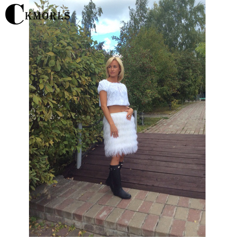 CKMORLS Nouvelle Vraie Fourrure Jupe Pour Femmes robe de Bal Naturel Fourrure De Renard Blanc Gonflable Bondage Taille Genou-Longueur De Luxe pantalon De Mode Jupes
