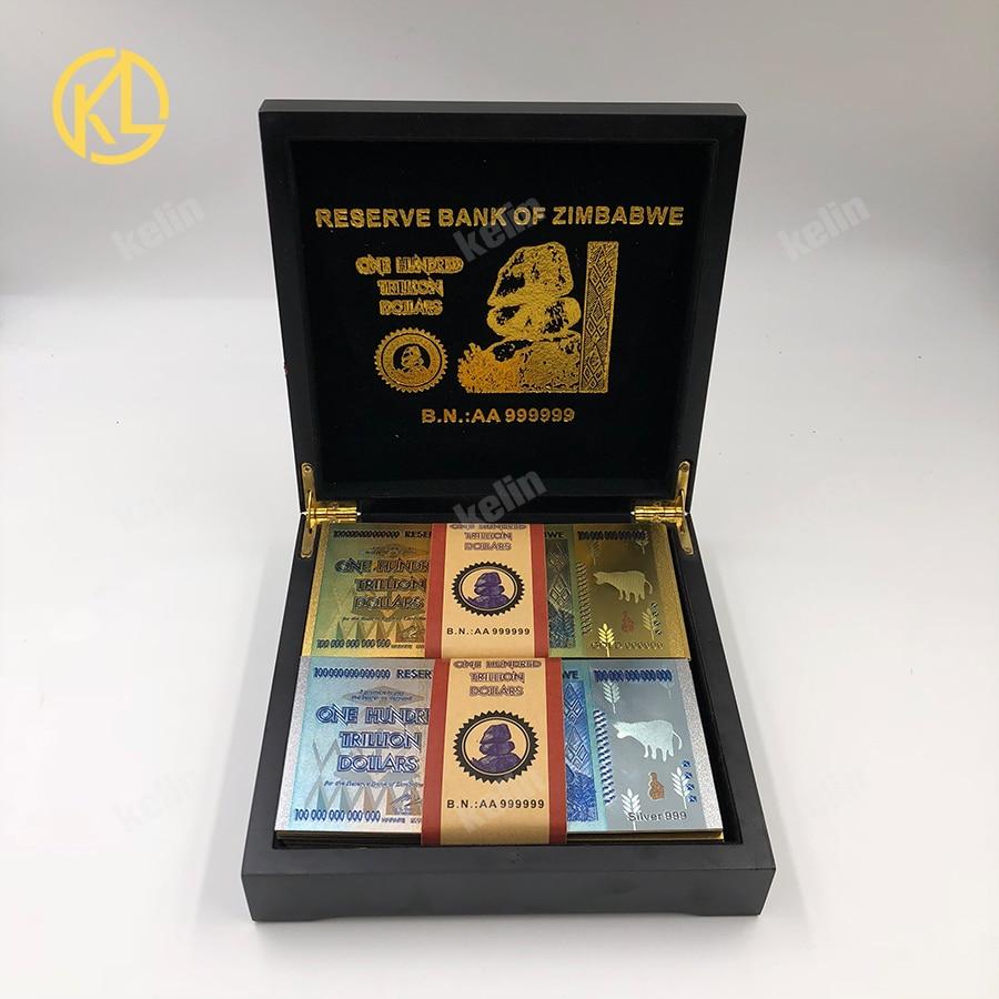 Ev ve Bahçe'ten Altın Banknotlar'de 100 adet/grup karışık 999 Altın Folyo 100 Trilyon Dolar Zimbabve Banknot güzel siyah için ahşap kutu'da  Grup 3