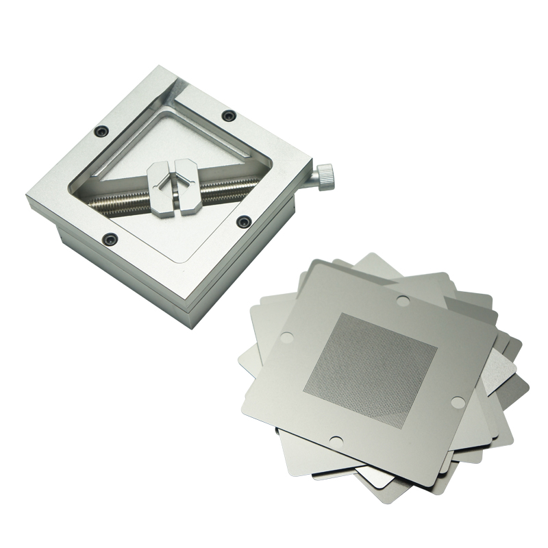 Silver BGA Reballing Kit 90 90mm 90x90mm   Station HT-90 with 10 PCS  Universal Stencils