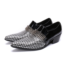 Chaussure Homme British Style Men Dress Shoes High Heels Pointed Toe Oxfords Shoes Men Snakeskin Leather Loafers Shoes Male 2019 silver metal pointed toe men loafers england style shinny slip on boat shoes oxfords spring autumn men dress shoes oxfords