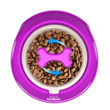 ФОТО flowgogo fun bone shaped slow feeder dog food bowls water bowl dishes for puppy small large dog pet feeding (s-400ml purple)