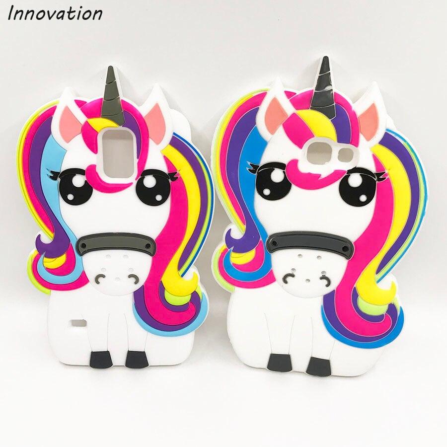 Bonito 3D Rainbow Unicorn Cavalo Dos Desenhos Animados Capa de Silicone Macio Para Samsung Galaxy S3 S5 S6 S7 borda A3 A5 2017 coque Telefone Tampa Traseira