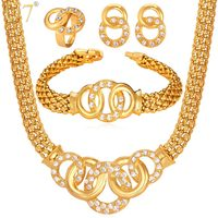 U7 African Costume Jewelry Set Necklace Set Crystal Mutil Circles Dubai Gold Color Jewelry Set Women Wedding Accessories S628