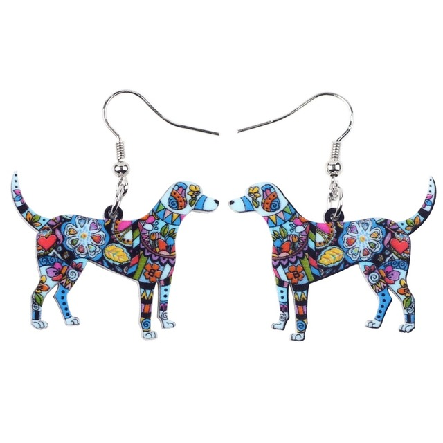 Colorful Floral Dog Patterned Earrings