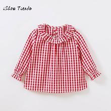 Новинка весны одежда Дети для девочек хлопковая рубашка с длинными рукавами проверяет, плед блузка одежда bluzki dla dziewczynki