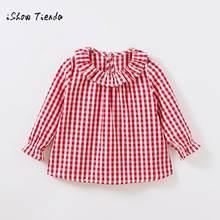 7feb5475f 2018 nueva ropa de primavera niño niños niñas de manga larga de algodón  camisa controles Plaid Tops blusa ropa dropshipping. exc.
