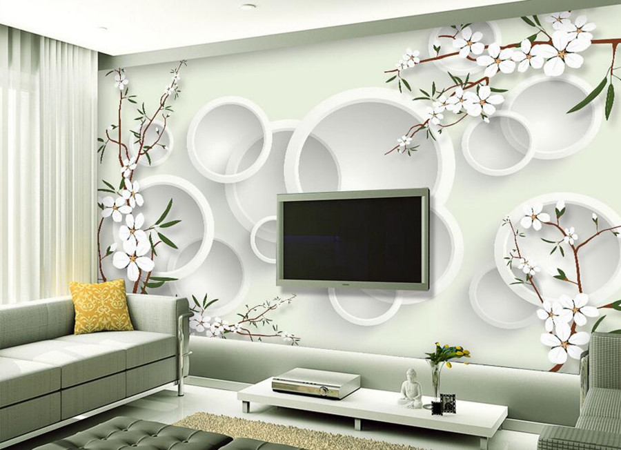 Large mural papel de parede, modern elegant fresh flowers 3D wallpaper,living room bedroom TV sofa wall 3d wallpapers for wall large painting home decor relief green flowers hotel background modern mural for living room murales de pared 3d wallpaper