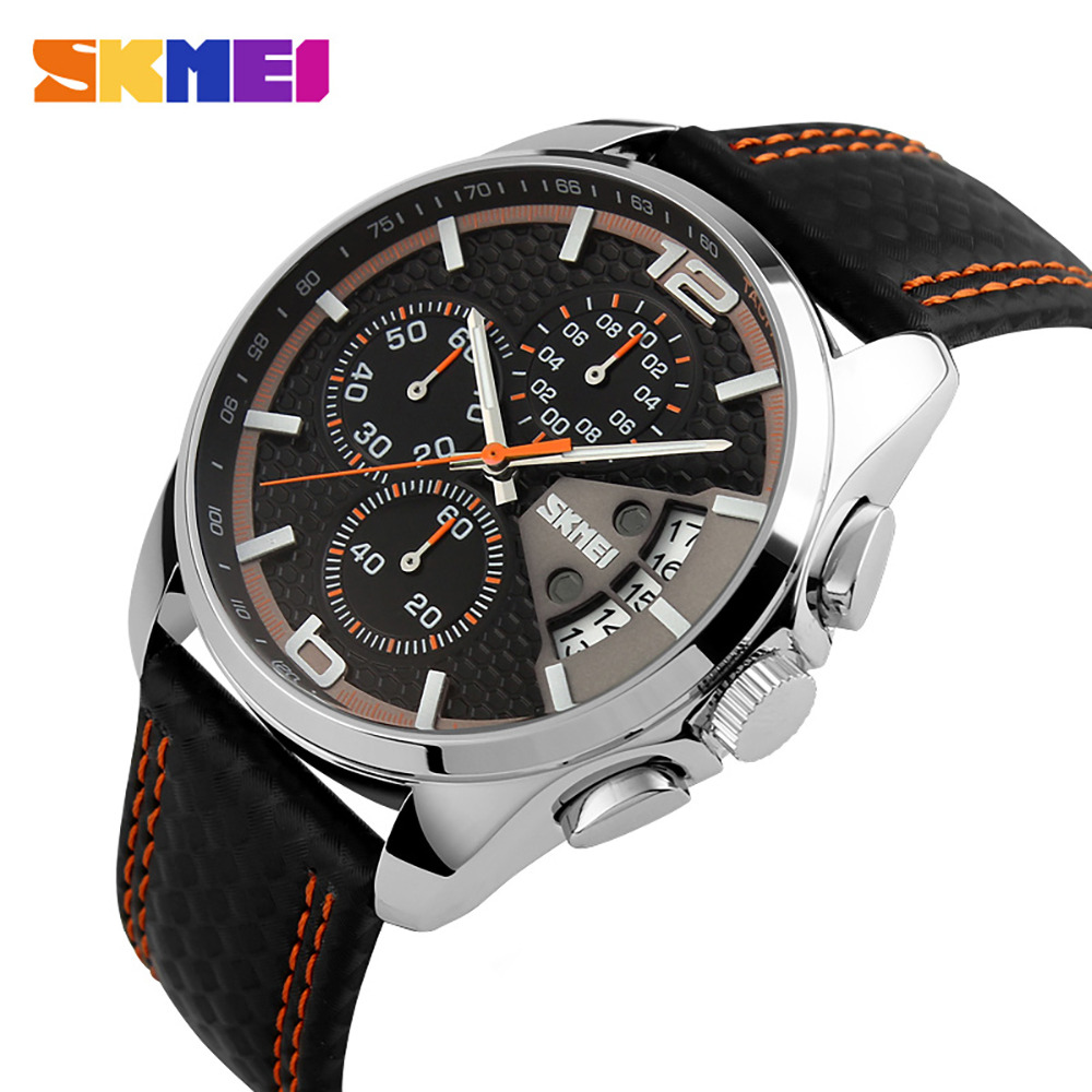 SKMEI Men Chronograph Watch Men Sport Watch Leather Quartz-Watch Waterproof Clock Date Men's Wrist Watch relogio masculino seiko watch premier series sapphire chronograph quartz men s watch snde23p1