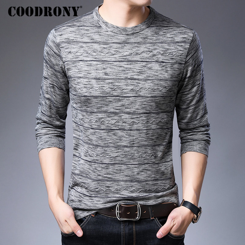 COODRONY Brand Sweater Men Knitwear Pull Homme Fashion Striped Pullover Men Autumn Winter Soft Warm Cotton Woolen Sweaters 91041