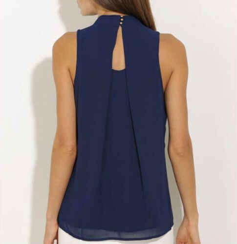 Vogue OL panie kamizelka szyfonowa bluzki lato bez rękawów plisowana bluzka Casual Tank topy odzież