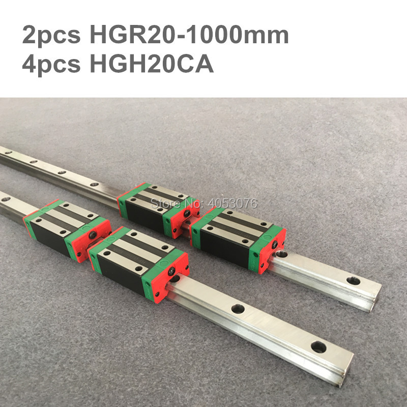 100% original HIWIN 2 pcs HIWIN linear guide HGR20- 1000mm Linear rail with 4 pcs HGH20CA linear bearing blocks for CNC parts стоимость