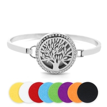 2016 Bangle Bracelets (30MM, 50*66MM) Silver Round Stainless Steel Tree Of Life Essential Oil Diffuser Perfume Cuff