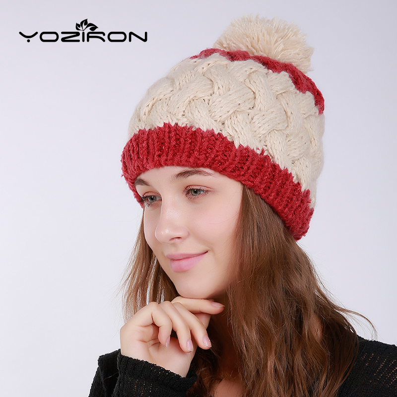 YOZIRON New Wool Warm Winter Hats For Women Ladies Girl's Beanies Adults Casual Mix Colors With Pompom Ski Wool Skullies Caps