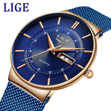 2019 LIGE New Mens Watches Top Brand Luxury Casual Fashion Watch Men Quartz Wristwatch blue Mesh belt Simple Waterproof Clock sekaro 2806 switzerland watches men luxury brand 2018 new genuine quartz watch men s fashion trend waterproof casual simple