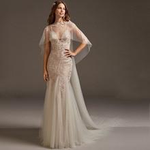 Eightree Elegant Cross Backless Mermaid Wedding Dress 2019 V Neck Appliqued Lace Turkey Bridal Gown Trumpet Dresses Bride Jacket